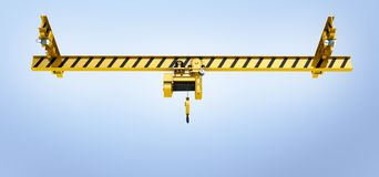 Overhead crane on blue gradient background 3d royalty free illustration