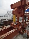 Overhead crane Steel rod Construction concrete worker post tension bridge stock images