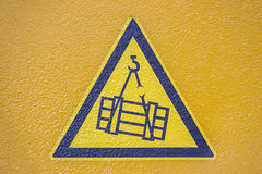 Overhead crane crush hazard sign Stock Photography