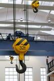 Overhead crane hooks Stock Photos