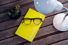 Diary, spectacles, pot plant and table lamp on wooden table. Overhead of diary, spectacles, pot plant and table lamp on wooden table Royalty Free Stock Images
