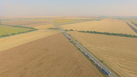 Overhead drone footage of transport network trucks shipping, supply chain stock video