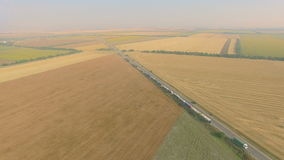Overhead drone footage of transport network trucks shipping, supply chain stock footage