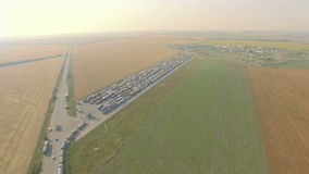 Overhead drone footage of transport network trucks shipping, supply chain stock video footage