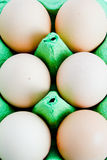 Overhead of eggs. Overhead view of free range eggs in packaging Stock Photo