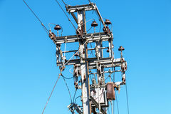 Overhead Electric Power Line Junction on Steel Pole Stock Photography