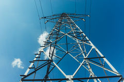 Overhead electrical power lines Royalty Free Stock Image