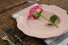 Elegance table setting on table. Overhead of elegance table setting on table Royalty Free Stock Image