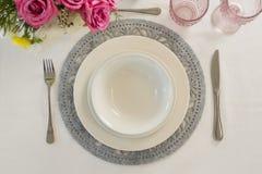 Elegance table setting. Overhead of elegance table setting Royalty Free Stock Image
