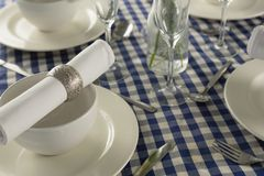 Elegance table setting on a table. Overhead of elegance table setting on a table royalty free stock images