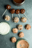 Overhead of Energy Balls, Chocolate and Coconut in Prep Bowls royalty free stock image
