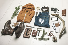 Overhead of essentials adventurer man. Stock Photo