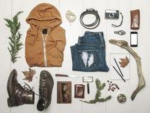 Overhead of essentials adventurer man. Royalty Free Stock Photography
