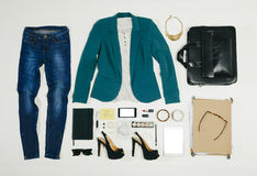 Overhead of essentials business woman. Royalty Free Stock Images