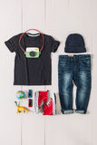 Overhead of essentials casual boy. Stock Images