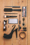 Overhead of essentials fashion woman objects. Stock Photography