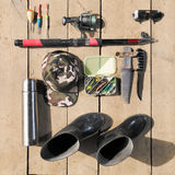 Overhead of essentials for fisherman. Fshing tackle and equipmen Royalty Free Stock Image