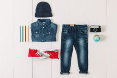 Overhead of essentials hipster boy. Stock Photo