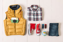 Overhead of essentials modern boy. Stock Image