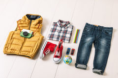Overhead of essentials modern boy. Royalty Free Stock Photos