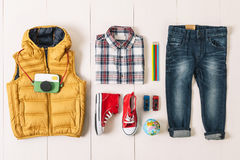 Overhead of essentials modern boy. Stock Images