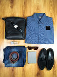 Overhead of essentials modern man. Outfit of business man. Royalty Free Stock Photography