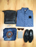 Overhead of essentials modern man. Outfit of business man. Stock Photos