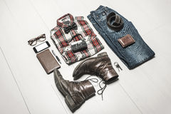 Overhead of essentials modern man. Stock Photo
