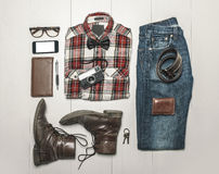 Overhead of essentials modern man. Stock Photography