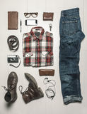 Overhead of essentials modern man. Stock Images