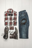 Overhead of essentials modern man. Royalty Free Stock Photography