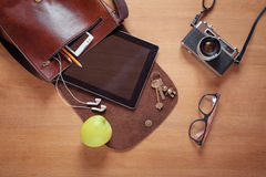 Overhead of essentials for modern young person Stock Photo