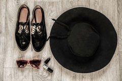 Overhead of a essentials objects in a fashion blogger Stock Images