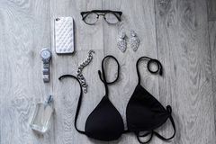 Overhead of a essentials objects in a fashion blogger Stock Image