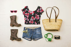 Overhead of essentials spring woman. Royalty Free Stock Image