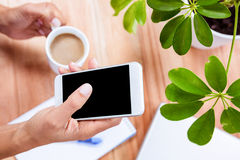 Overhead of feminine hands holding coffee and smartphone Stock Photography