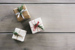 Overhead flat lay of three pretty Christmas gifts. Overhead flat lay of three pretty wrapped Christmas gifts Royalty Free Stock Photo