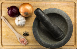 Overhead Food Shot with mortar and pestle Royalty Free Stock Images