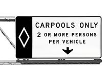 Overhead Freeway Carpool Only Sign Isolated Royalty Free Stock Image