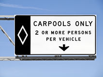 Overhead Freeway Carpool Only Sign Isolated Stock Photo