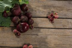 Overhead of fresh organic beetroots. On wooden table Stock Photography