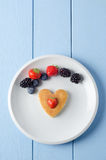 Overhead Fruity Heart Pancake Royalty Free Stock Images