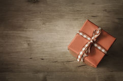 Overhead Gift Box on Wood - Angled Stock Photography