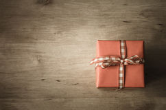 Overhead Gift Box on Wood Royalty Free Stock Photography