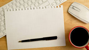Overhead of graph paper and pen Royalty Free Stock Photo