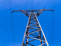 Overhead high-voltage line Royalty Free Stock Images