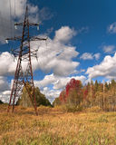 Overhead high-voltage line Stock Photography
