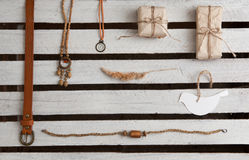 Overhead of hipster woman essentials Royalty Free Stock Photos