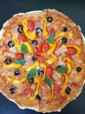 Overhead homemade pizza crispy crust Royalty Free Stock Images