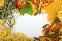 Overhead Italian pasta background Stock Photos